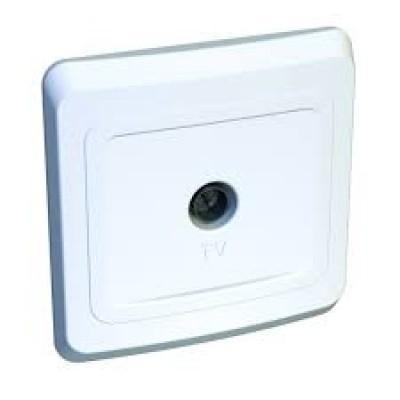 ЭТЮД Розетка телевизионная оконечная TV 0.7дБ скрытая белая (TVC-002B)