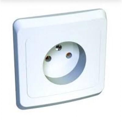 ЭТЮД Розетка скрытая без заземления без шторок белая (PC16-001B)