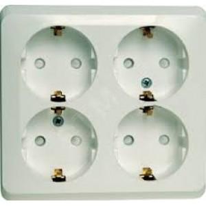 ЭТЮД Розетка четырехместная наружная с заземлением со шторками 16А 250B белая (PA16-208B)